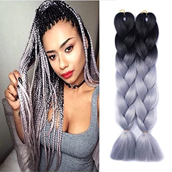 Amazon Com Yrenrea Hair 24 Ombre Kanekalon Jumbo Synthetic