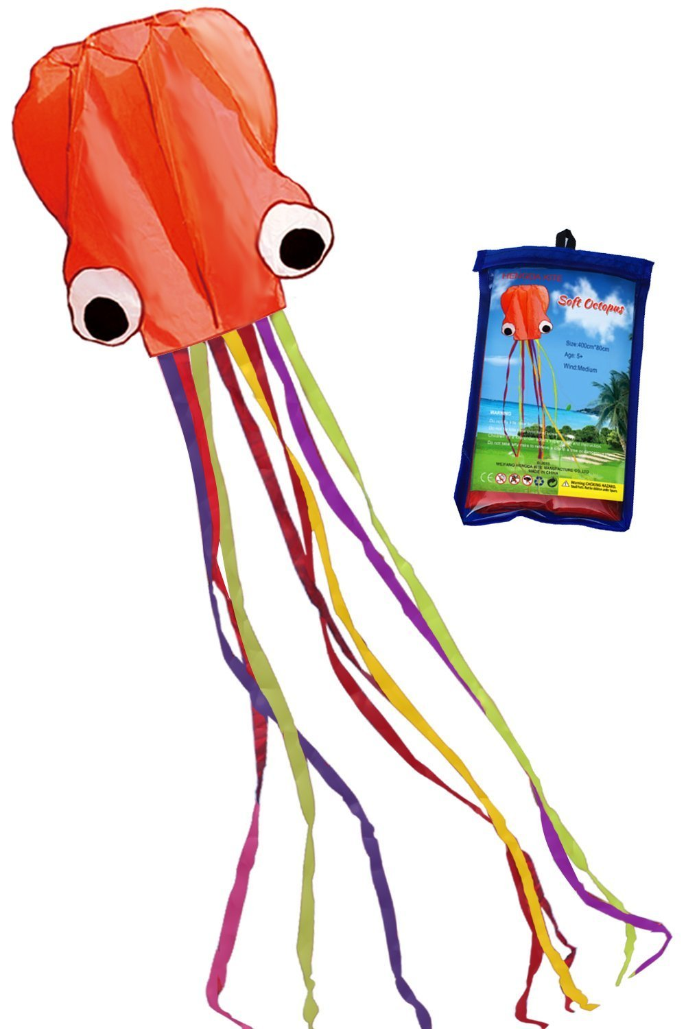 Hengda Kite Software Octopus Flyer Kite with Long Colorful Tail for Kids, 31-Inch Wide x 157-Inch Long, Large, Orange
