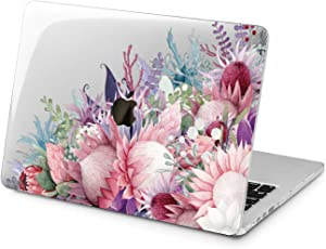 "Cavka Hard Shell Case for Apple MacBook Pro 13"" 2019 15"" 2018 Air 13"" 2020 Retina 2015 Mac 11"" Mac 12"" Pink Plastic Flower Floral Protective Tropical Laptop Design Cover Blossom Print Purple Cute"