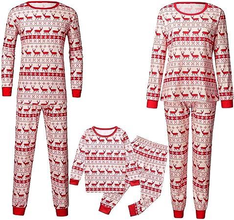 Family Holiday Pyjamas Matching Set Santa Printed Family Clothes Sets Pajama Set Kid Top and Pants Outfit Set Baby Romper Sleepwear