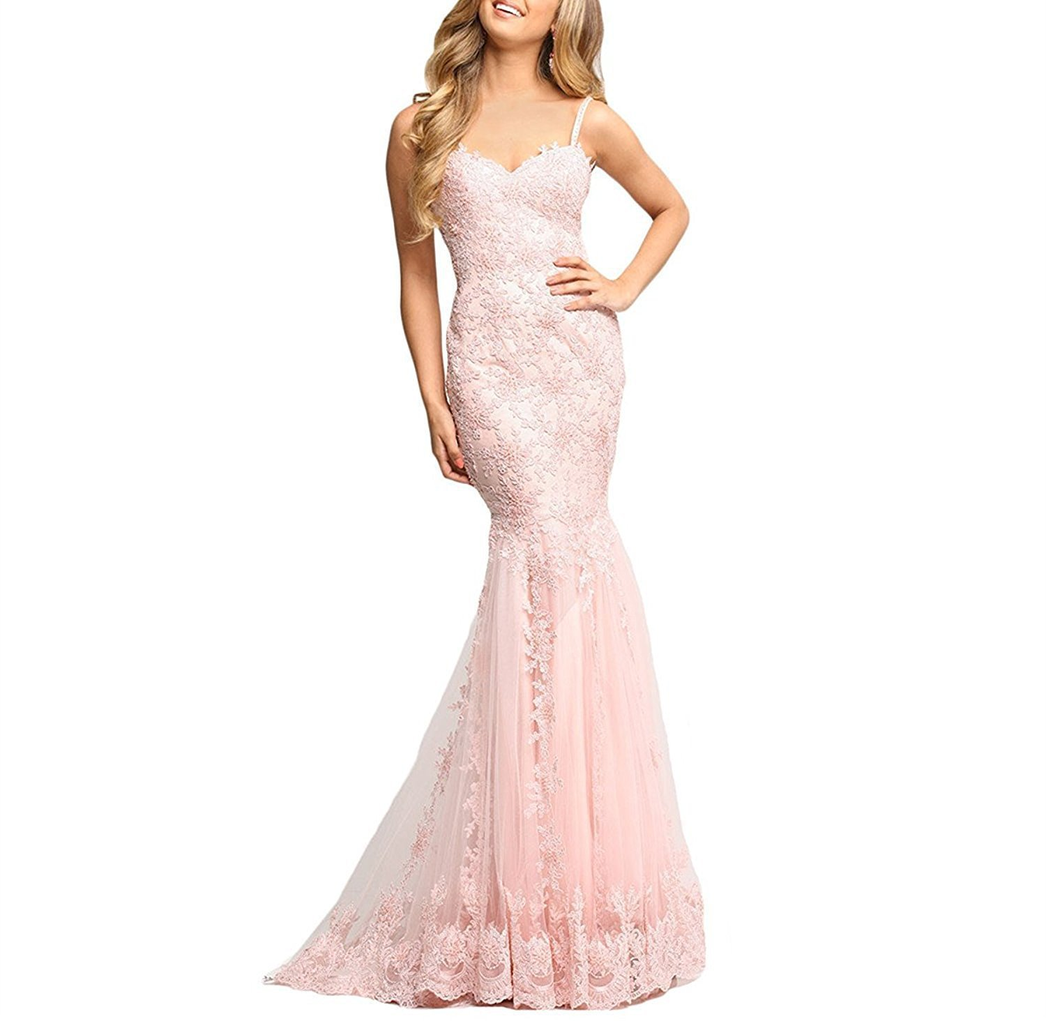 Women's 2018 Long Lace Mermaid Prom Dresses Formal Evening Gown Size 6 Blush