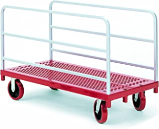 "product image for Raymond 3901 Steel Heavy Duty Panel and Sheet Mover with 2 Uprights and 8"" x 2"" Quiet Poly Caster, 3200 lbs Capacity, 54"" Length x 30"" Width"