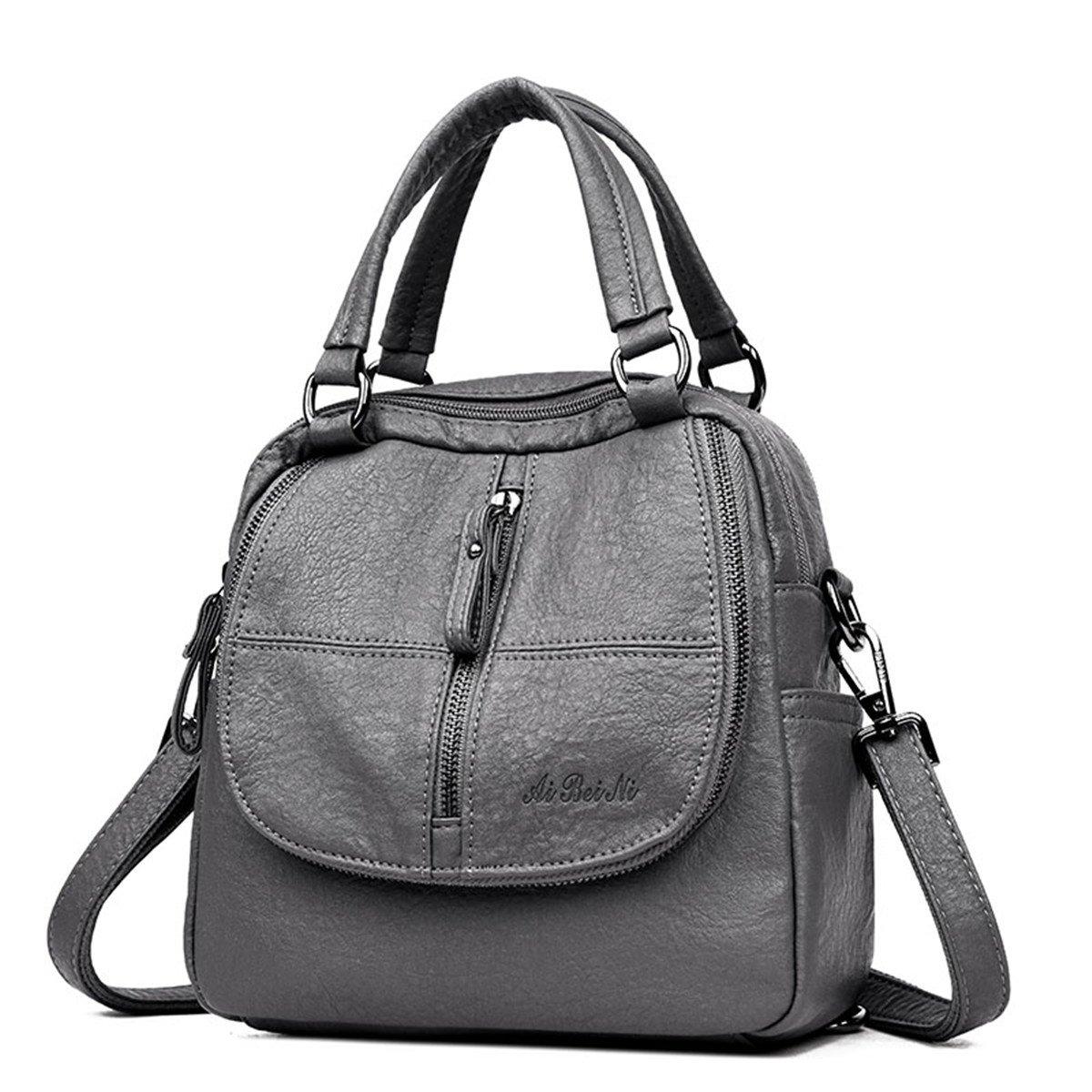 JOSEKO Women Backpack Purse, PU Washed Leather Shoulder Bag Ladies Travel Backpack Multifunction Handbag Grey by JOSEKO