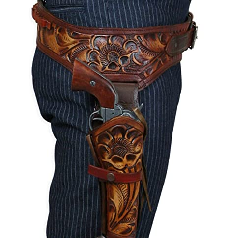 Men's Steampunk Goggles, Guns, Gadgets & Watches Historical Emporium Mens Right Hand Tooled Leather Western Gun Belt and Holster .44/.45 cal $125.95 AT vintagedancer.com