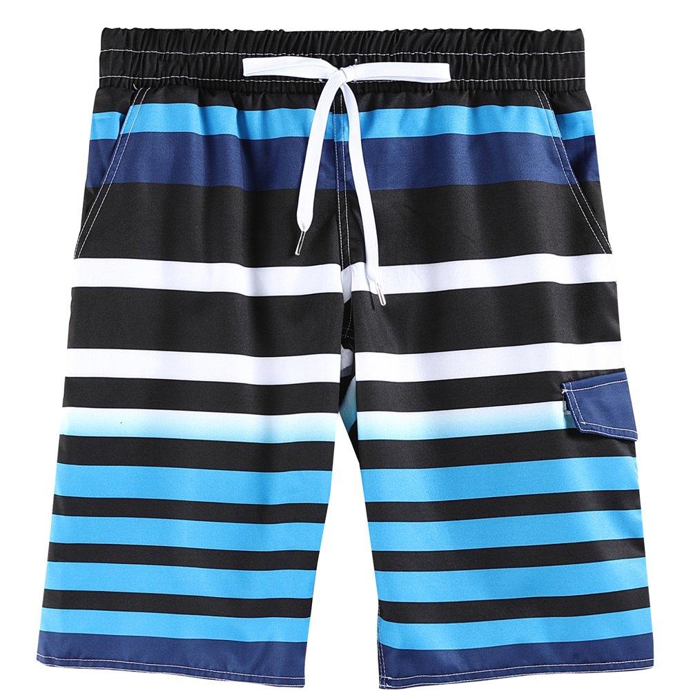 Hsctek Boys Swim Trunk, Children Reflection Stripe Board Short, Beach Quick Dry Swimwear for Kids