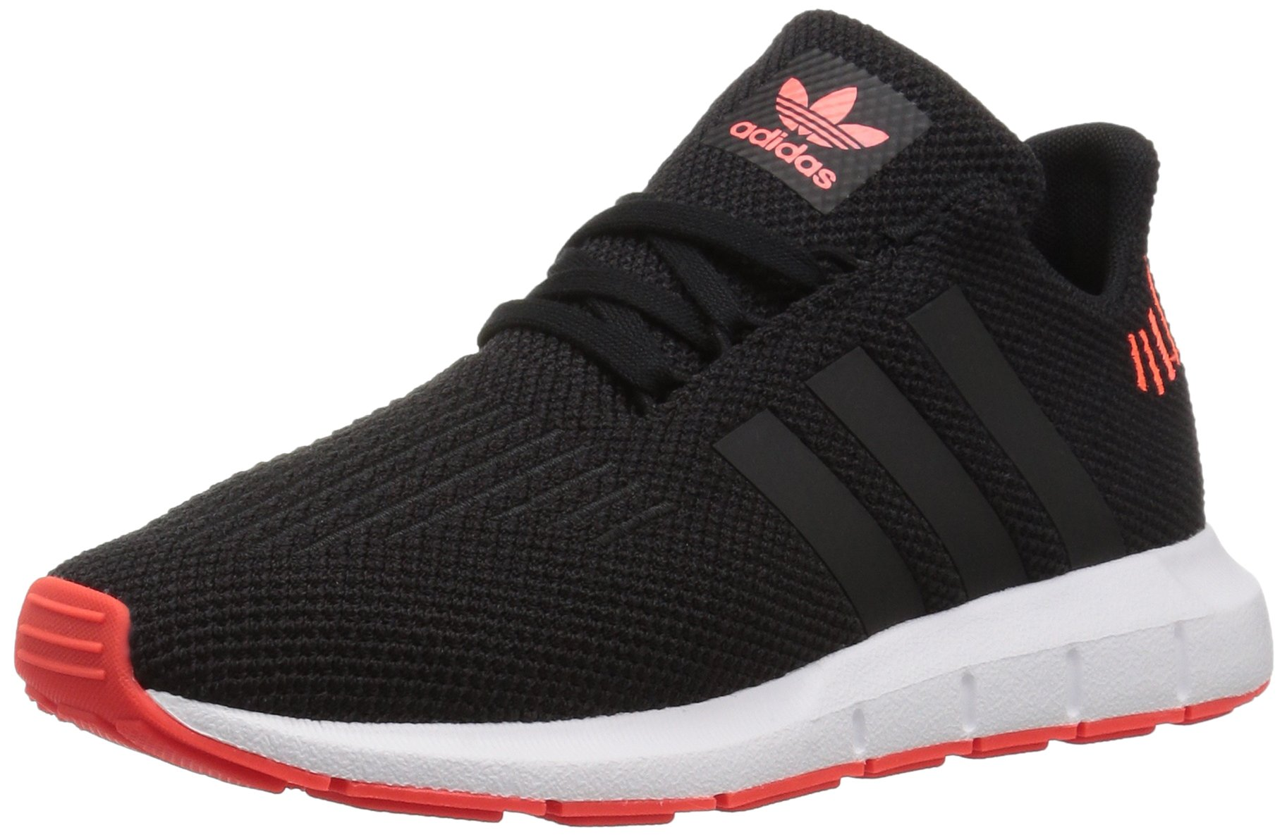 adidas Originals Unisex-Kids Swift Running Shoe, Black/Black/Solar Red, 4 M US Big Kid