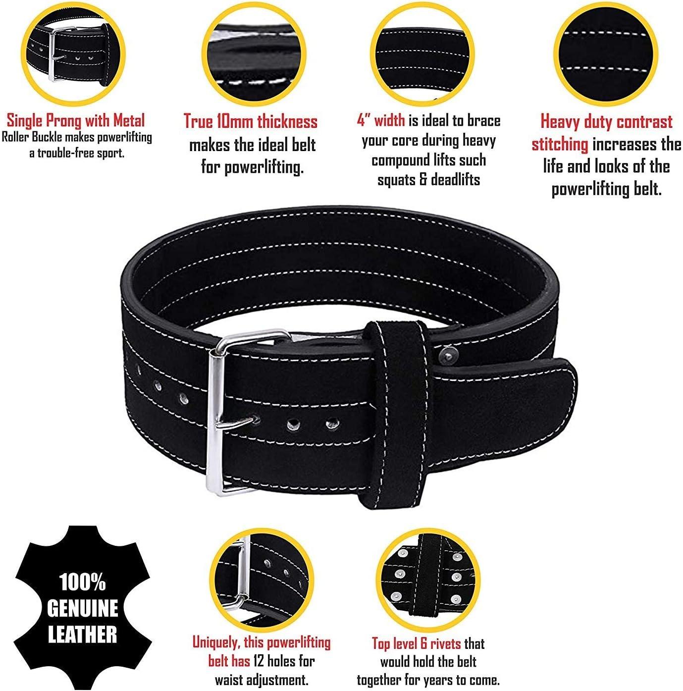 Condor Fitness Lever Belt Black Genuine Leather Powerlifting Men /& Women Power Lifting Buckle 10mm Weightlifting Belt