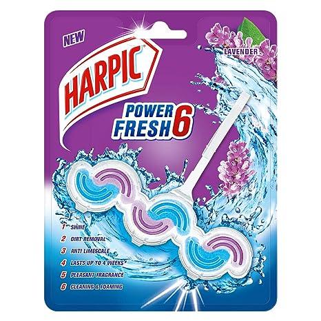 Harpic Power Fresh 6 Toilet Rim Block, Lavender - 39 gm