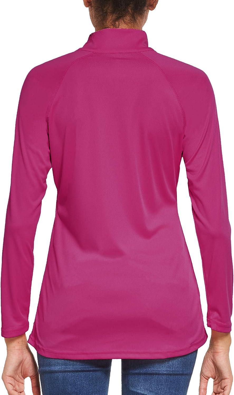Langarm Laufshirt Sportshirt 1//4 Zip f/ür Training Sport Ogeenier Damen Langarmshirt UPF 50+ UV Sonnenschutz Wandern