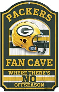 WinCraft Green Bay Packers Fan Cave Wood Sign
