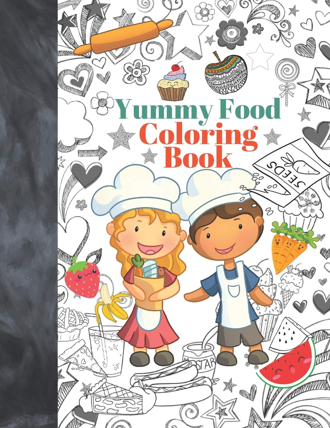- Yummy Food Coloring Book: Kids Coloring Book Featuring Baking