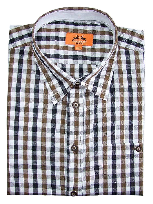 Trachtenhemd Ludwig für Herren Braun Kariert - Slimfit - Schönes Markenhemd von Maddox zur Lederhose