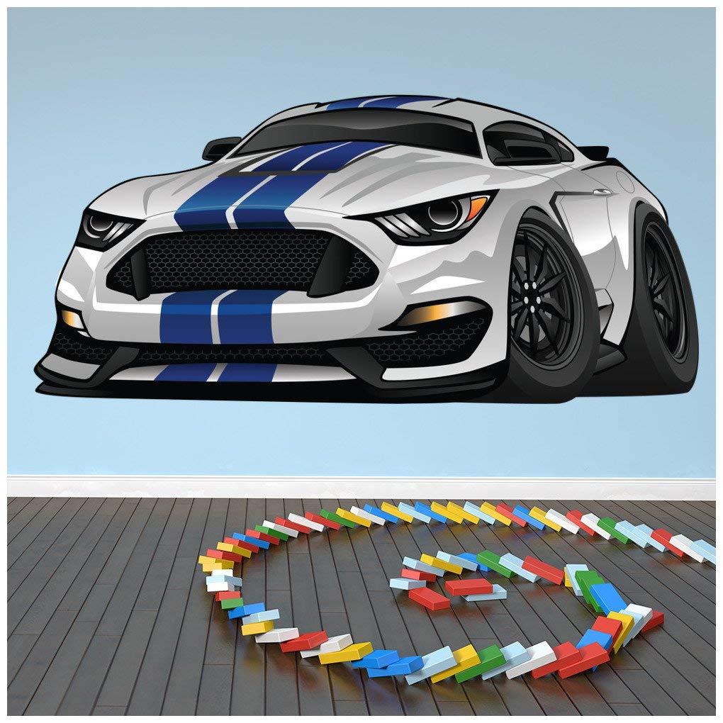 azutura Mustang Blanco y Azul Vinilos Coche Deportivo Pegatina Decorativos Pared Garage para ni/ños Decoraci/ón del hogar Disponible en 8 Tama/ños Extra peque/ño Digital