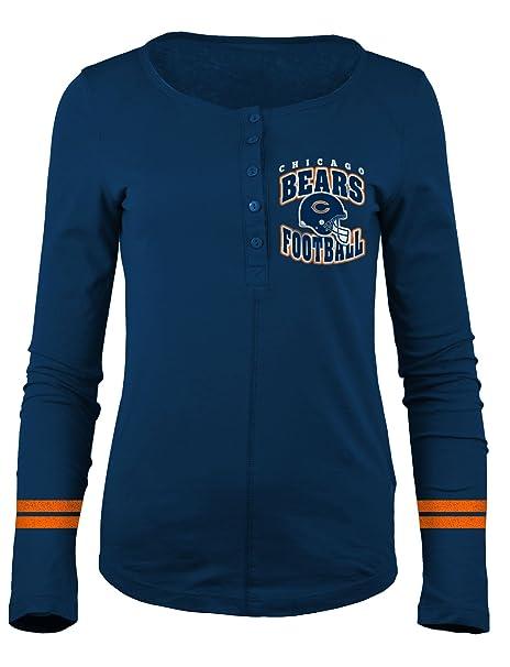 A-Team Apparel NFL Chicago Bears Women s Long Sleeve Scoop Neck Henley  Shirt 2dc8d34041