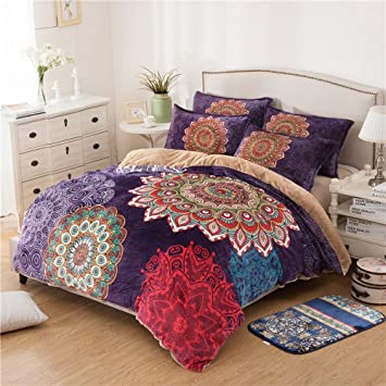 Amazing Alicemall Bohemian Bedroom Set Beautiful Flower Paisley Print Flannel Sheets  Bedding Set 4 Pieces Purple Ethnic