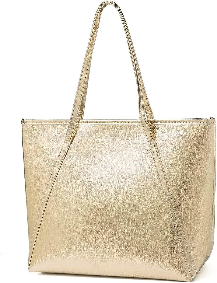 Womens Leather Top Handle Shoulder Handbag Five Rose Large Work Tote Bag
