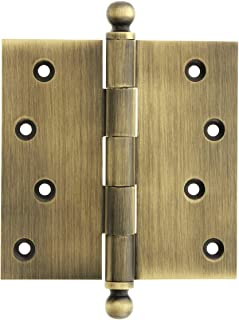 4  Solid Brass Door Hinge With Ball Finials In Antique Brass Finish  sc 1 st  Amazon.com & 3