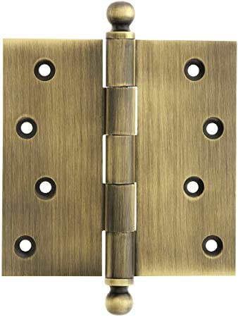 4u0026quot; Solid Brass Door Hinge With Ball Finials In Antique Brass Finish
