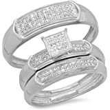 0.30 Carat (ctw) White Diamond Men & Women's Micro Pave Engagement Ring Trio Bridal Set 1/3 CT