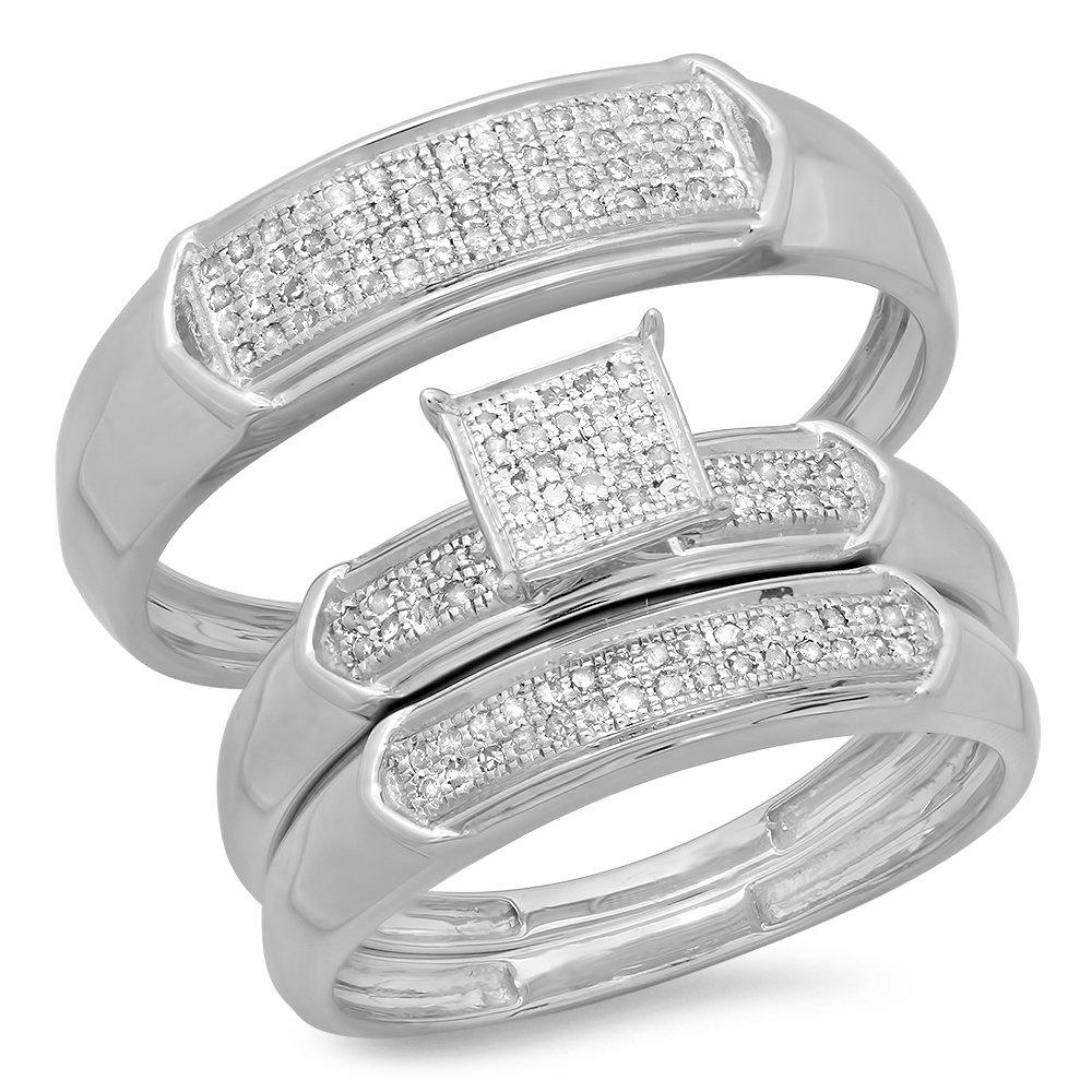 0.30 Carat (ctw) Sterling Silver Round White Diamond Men & Women's Micro Pave Trio Bridal Set 1/3 CT
