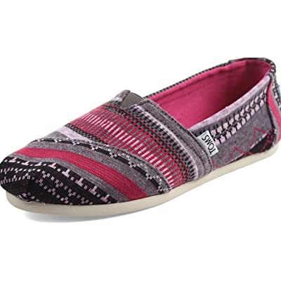 TOMS Women's Classics Fuchsia Tribal Jersey Loafer (6) | Fashion Sneakers