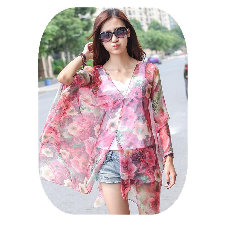 AKSSWEET Chiffon mit V-Ausschnitt Sonnenschutz Schals Schals Frauen Kleidung Strand Blume