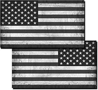 "Matte Black 4.5/"" x 8/"" V2 Set of 2 pc American Flag Decal Distressed Military"