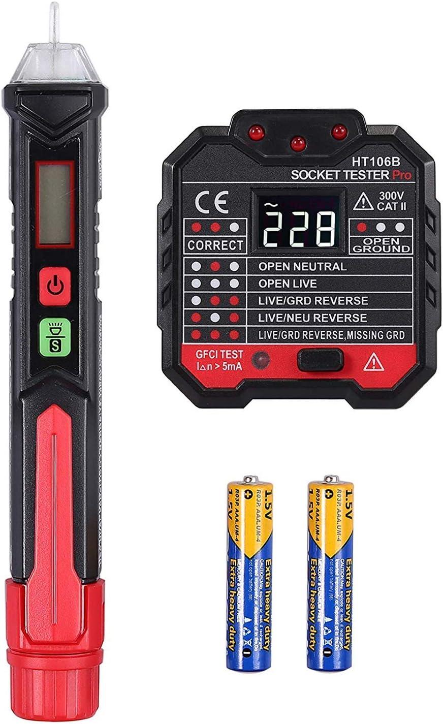 Proster Non Contact Voltage Tester Pen 12-1000V + Socket Tester 48V~250V Wall AC Power Outlet Tester Adjustable Sensitivity Electrical AC Voltage Detector with LED Flashlight Alarm