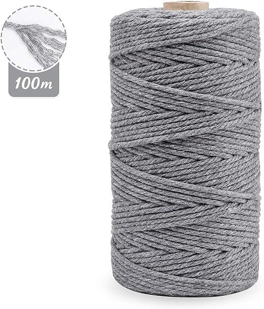 Cordón de macramé de 3 mm x 100 m, cuerda de algodón de macramé natural para manualidades, cuerda de algodón para colgar en la pared, colgar plantas, manualidades, tejer, proyectos decorativos gris: