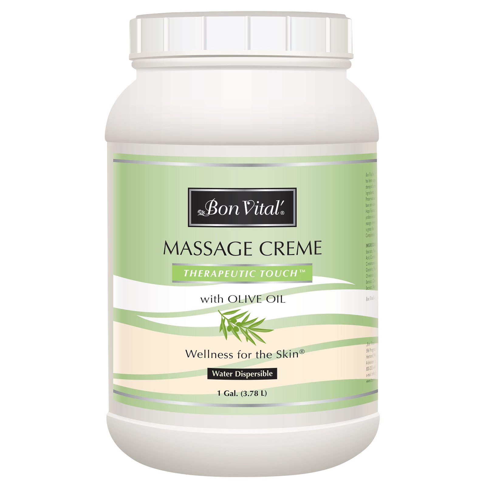 Bon Vital' Therapeutic Touch Massage Crème, Professional Massage Therapy Cream with Olive Oil to Repair Dry Skin & Soothe Sore Muscles, Full Body Moisturizer for Youthful Looking Skin, 1 Gallon by Bon Vital (Image #1)