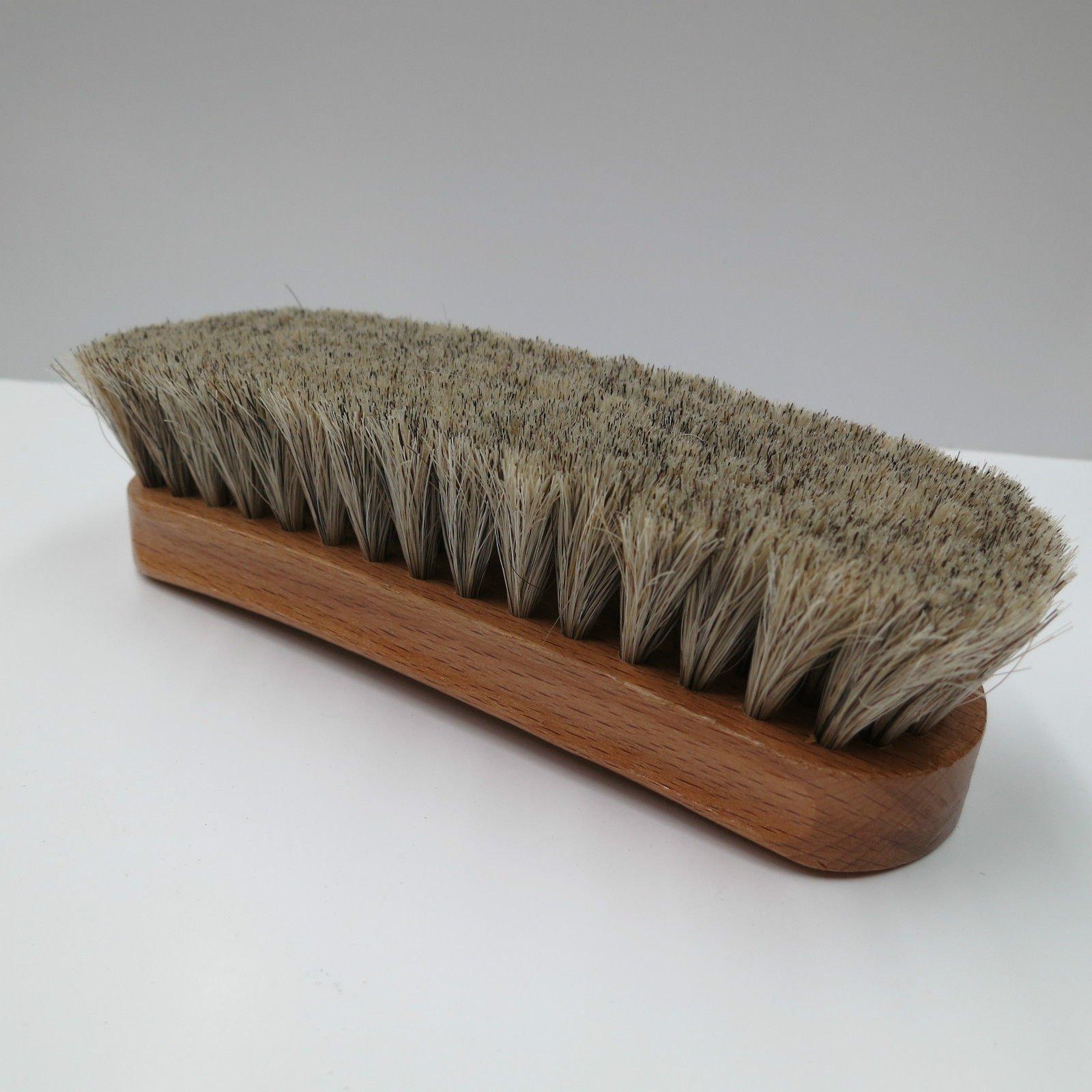 Neutral Shoe Shine Buffing Brush 100% Horsehair Horse Hair Wood Handle Boot Medium