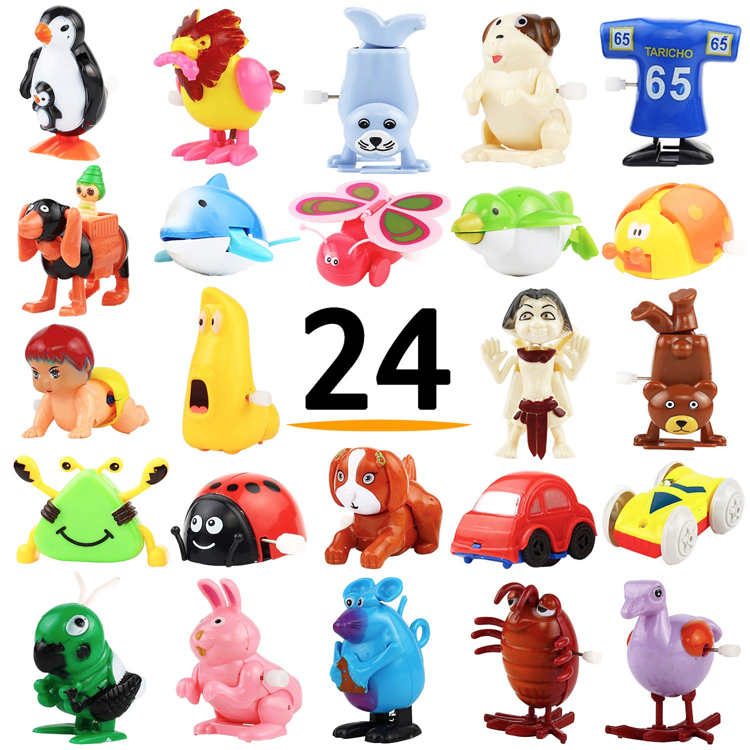 Wind-Up Toys, 24 Pack Assorted Mini Toy for Kids Party Favors, Birthday Goody Bag Filler Preschool Toy for Boys Girls Children,Gifts Giveaway Pinata Filler Carniva Prizes Classroom Incentive Reward