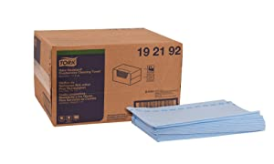 """Tork 192192 Odor Resistant Foodservice Cleaning Towel, 1/4 Fold, 13"""" Width x 24"""" Length, Blue/Blue Stripe (Case of 1 Box, 150 Cloths per Box)"""