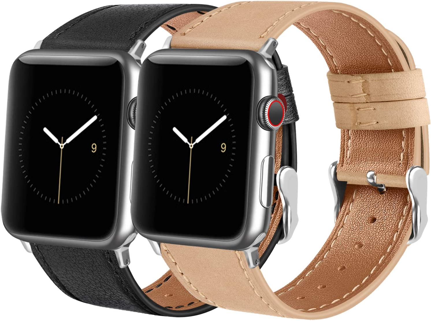Tobfit Leather Bands Compatible with Apple Watch Band 38mm 40mm 42mm 44mm Women Men Compatible with iWatch SE Series 6 5 4 3 2 1, Black&Beige, 42mm/44mm