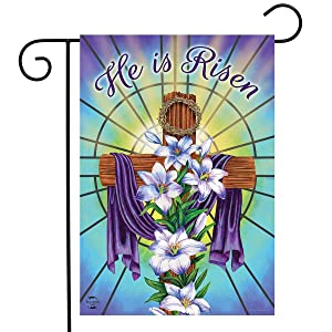 """Briarwood Lane Easter Cross Religious Garden Flag Holiday Lilies 12.5"""" x 18"""""""