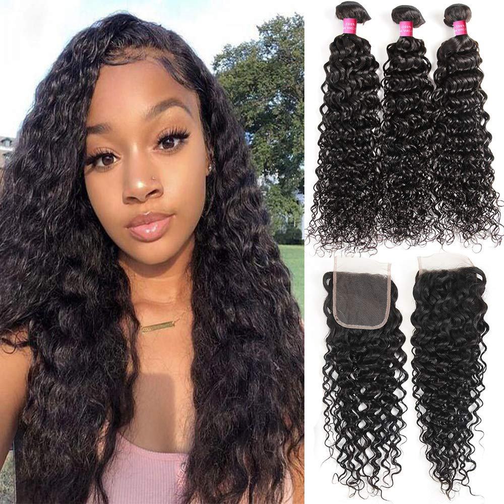 Amazon Com Deep Curly Wave Bundles With Closure 9a Deep Wave Hair With Lace Closure Free Part Unprocessed Virgin Brazilian Wet And Wavy Human Hair Weave 3 Bundles With Closure For Black