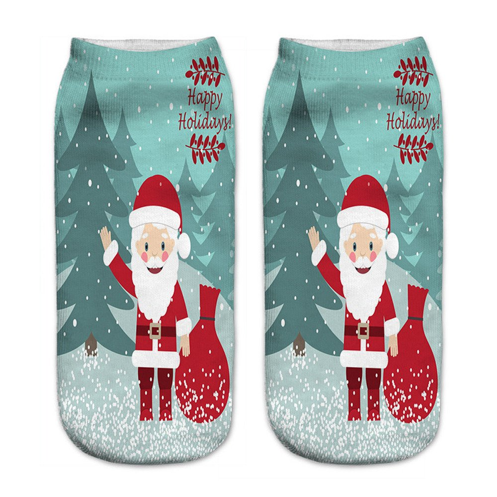 Charberry Clearance Unisex Santa Claus 3D Printed Christmas Casual Socks Low Cut Ankle Socks (B)