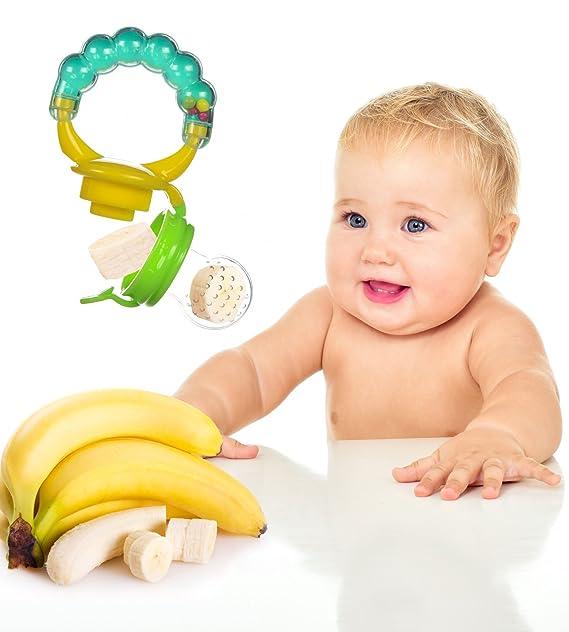 Dispensador de Alimentos Para Bebé con Sonaja, De Silicona, 2 Piezas | Mordedera | Chupete de Goma de Boxiki Kids: Amazon.es: Bebé