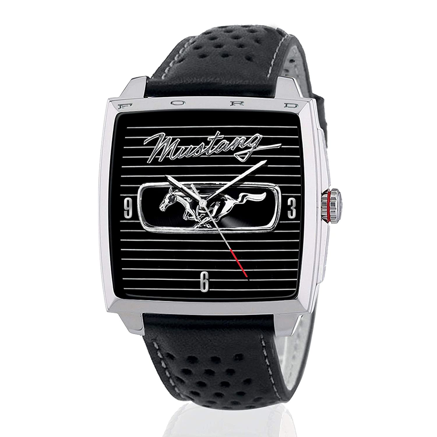 1966 ford mustang fastback watch officially licensed mens watch with stainless steel case grille watch face genuine leather band engravings and more