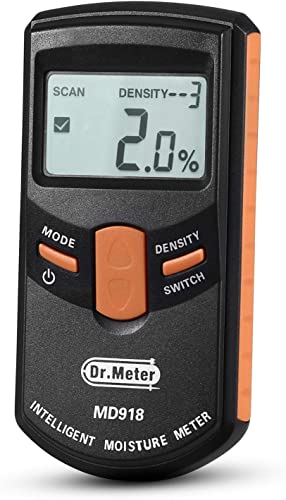 Pinless Wood Moisture Meter, Dr.meter Upgraded Inductive Pinless Tools, Intelligent Lumber Moisture Meter, Digital Moisture Meter for Wood, Range 4 – 80 RH Accuracy 0.5 , MD918