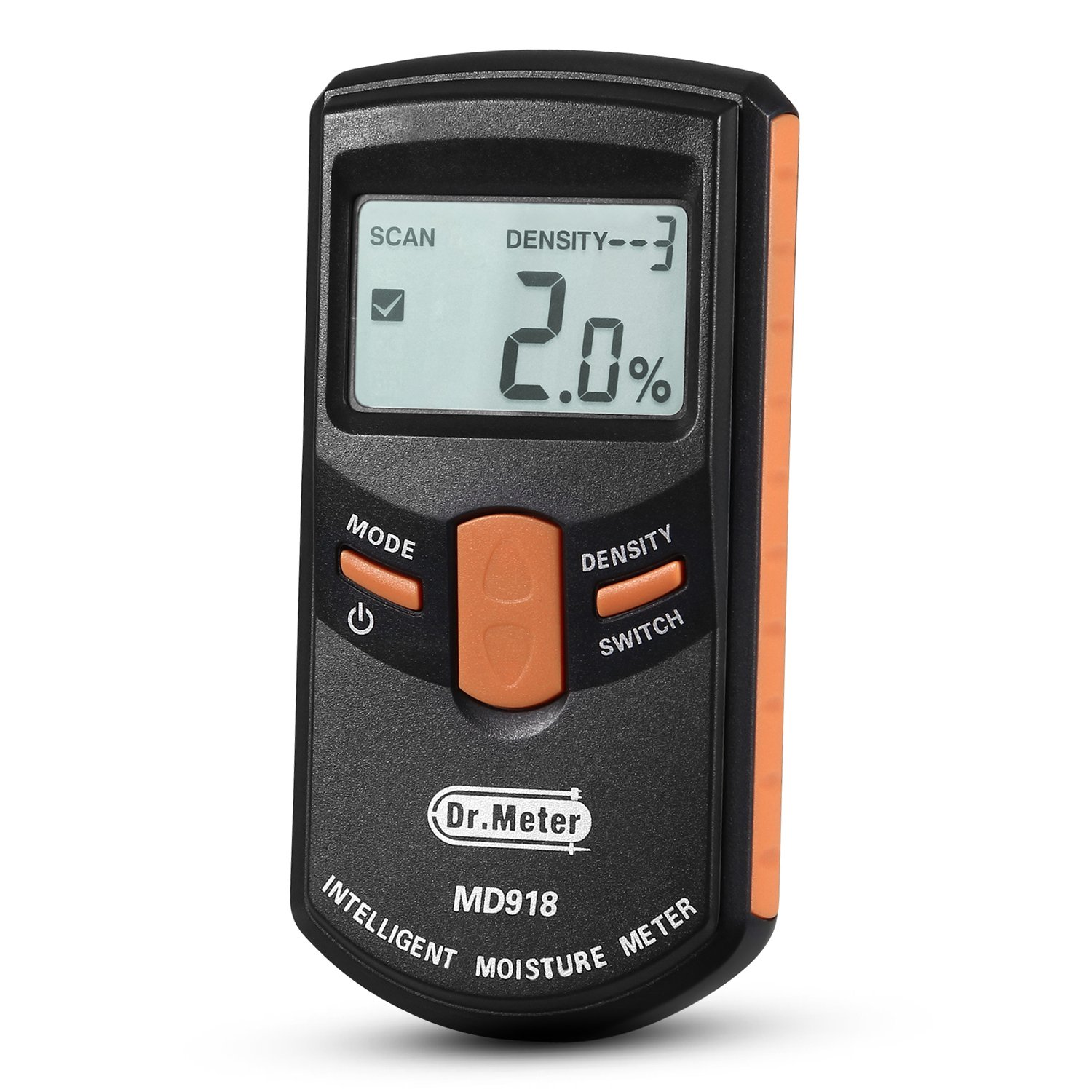 Pinless Wood Moisture Meter Dr.meter Upgraded Inductive Pinless Tools Intelligent Lumber Moisture Meter Digital Moisture Meter for Wood Range 4% 80% RH; Accuracy 0.5% MD918