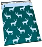 Poly Mailers Reindeer Christmas Designer Poly Mailers Custom Bags Green & White Shipping Envelopes Plastic Bags #SmileMail (100 10x13)