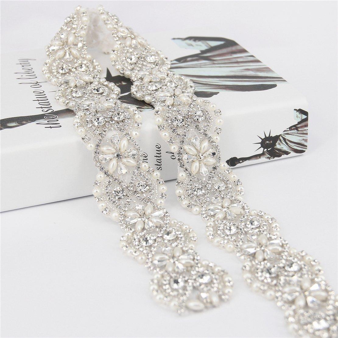 Trlyc 2015 New Vintage Crystal Wedding Belt Dress Belt Crystal Rhinestone Pearl Bridal Sash by TRLYC