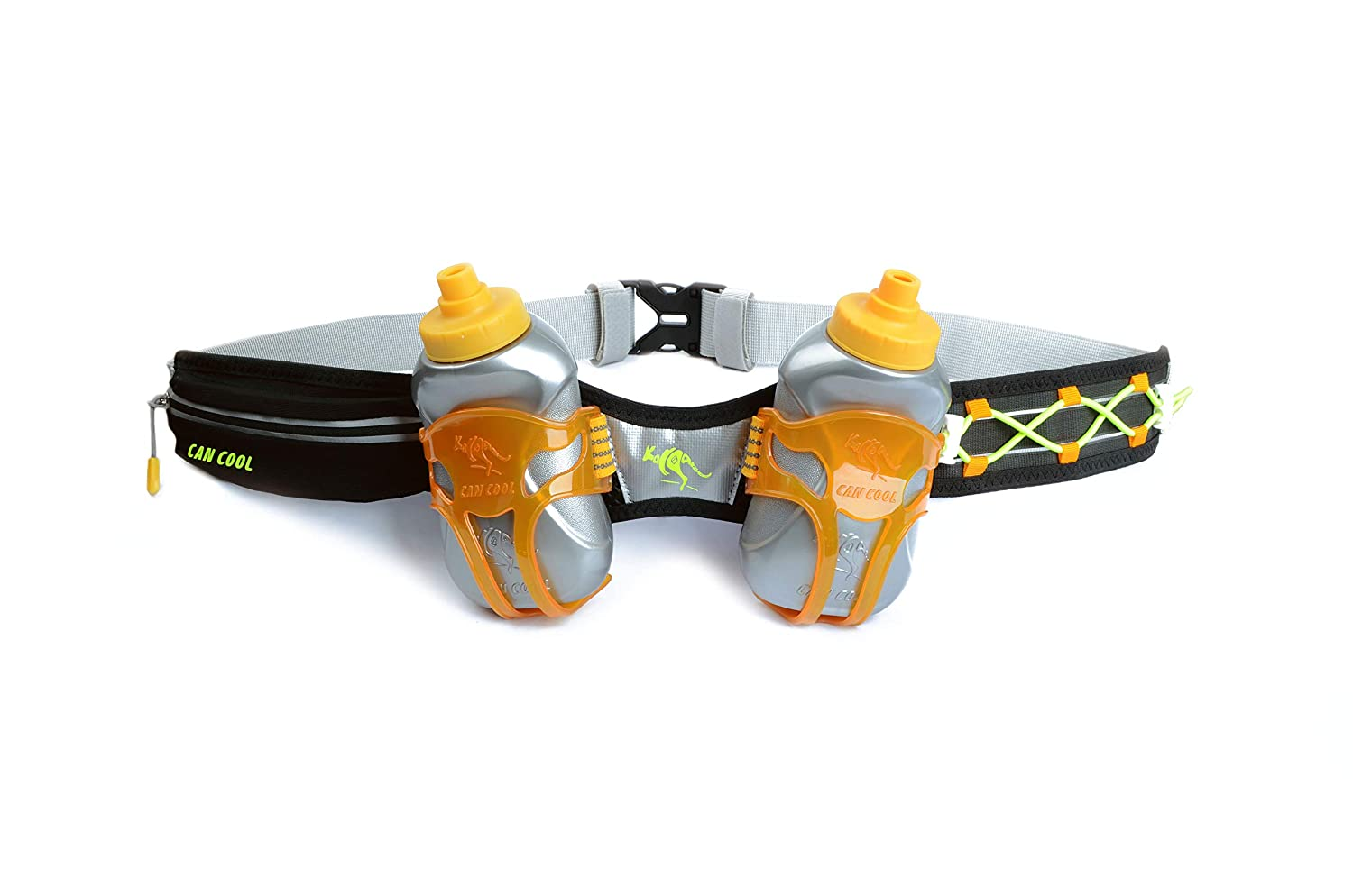247 Viz Hydration Belt – Fits iPhone 8, X and Similar Phones – with 2 BPA Free Water Bottles and Pouch System – Running Fuel Belt Runners Reflective Gear for High Visibility