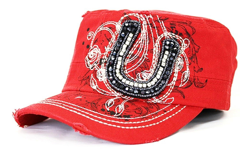 YK Adjustable Bling Rhinestone Beaded Western Cowgirl Womens Hat Cap Jp