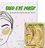 Under Eye Gold Eye Mask - Energizing, Moisturising 24k Gold Collagen Patches for Reducing Dark Circles Puffiness  Undereye Bags, Wrinkles   Vegan, All-Natural (15 Pairs)