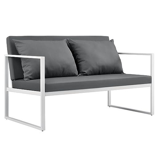 [casa.pro]® Sofá de jardín 70 x 114 x 60 cm mueble de jardín para exterior con cojín blanco