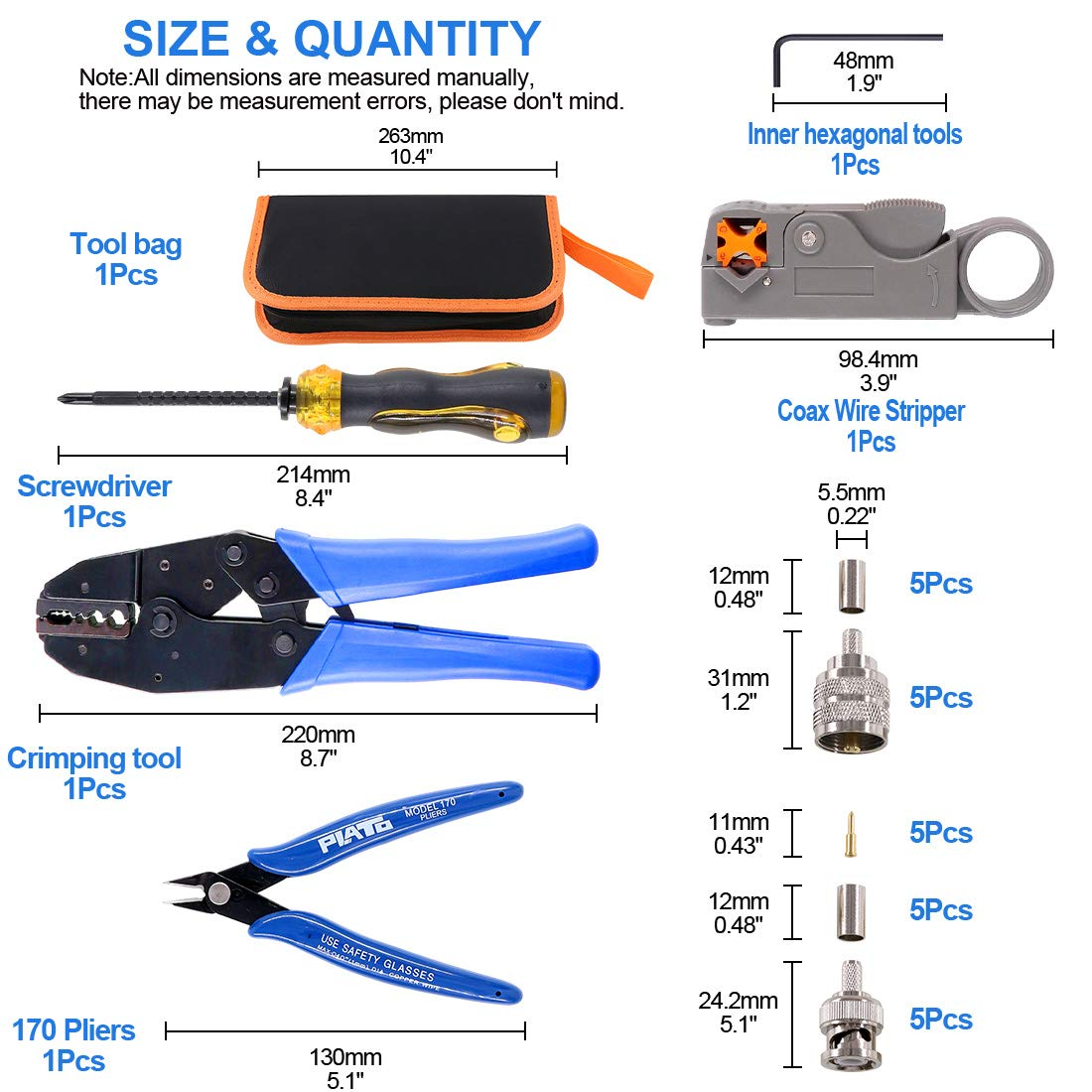 Glarks Coaxial Cable Tool Set, Coax RF Connector Crimping Tool + Coaxial Cable Stripper + BNC/UHF Crimp Male Connectors + Wire Cutter + Screw Driver for RG58, RG59, RG62, RG174 by Glarks (Image #2)