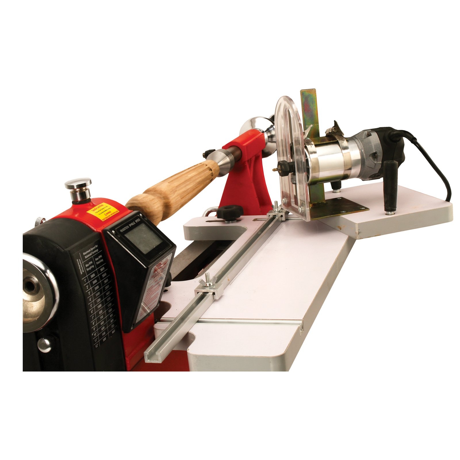 Lathe Mounted Fluting Guide with Router