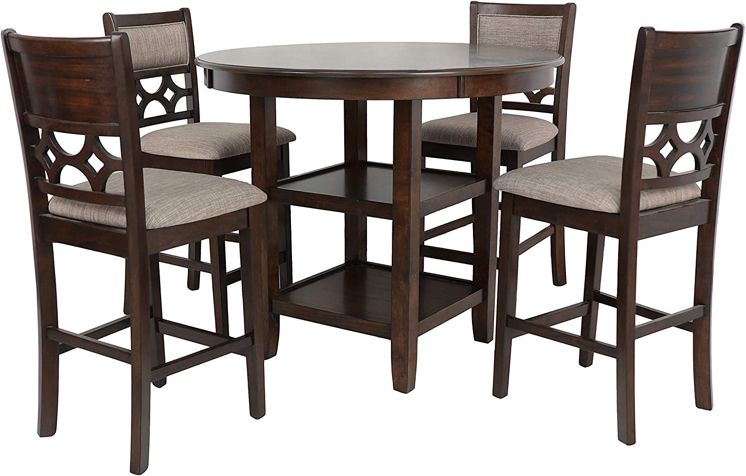 New Classic Furniture Mitchell 5-Piece Counter Table Set, Dark Cherry